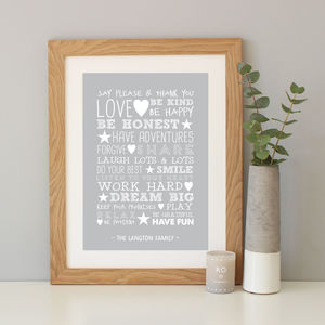 Personalised 'Family Rules' Typography Print - posters & prints