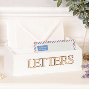 White Wooden Letter Desk Tidy - magazine racks