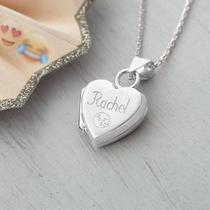 Personalised Sterling Silver Emoji Locket Necklace