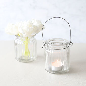 Ribbed Glass Lantern Or Vase