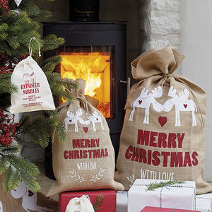Festive Moose Christmas Sack - stockings & sacks