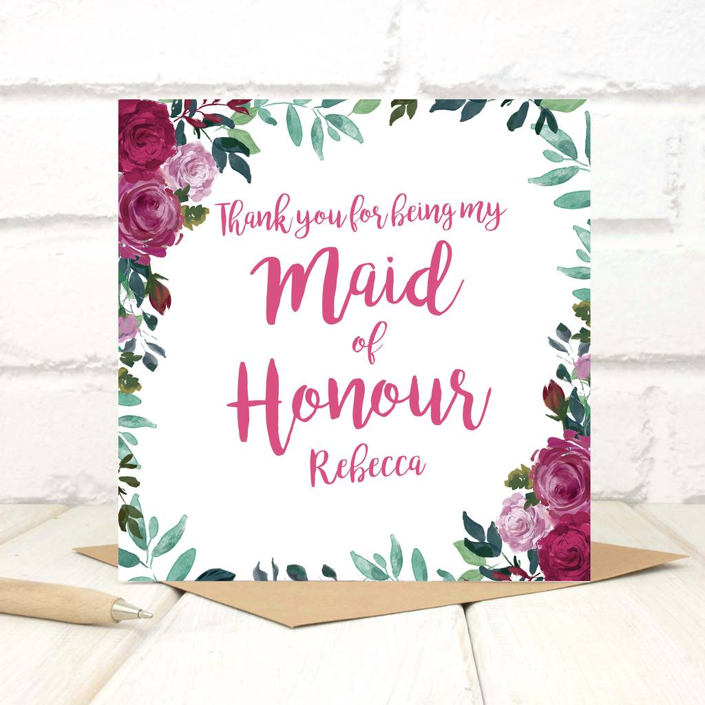 Personalised Thank You Maid Of Honour Card