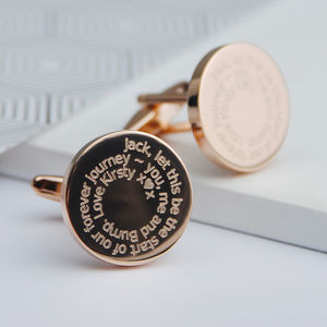Personalised Bride To Groom Wedding Day Cufflinks - cufflinks