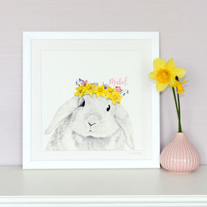 Framed Spring Baby Bunny Print - children's room
