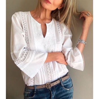 Lua Embroidered Cotton Shirt White