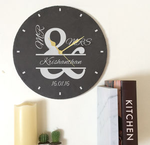 Personalised Slate Mr And Mrs Clock - dining room