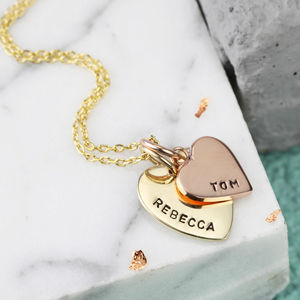 Personalised Solid Gold Double Heart Charm Necklace - 50th anniversary: gold