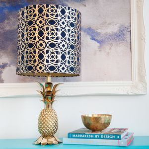 Gold Metallic Patterned Drum Lampshade - dining room
