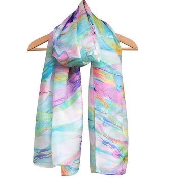 Large Silk Marble Print Scarf