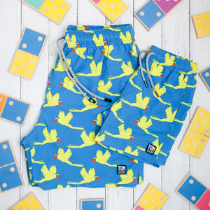 Father And Son Matching Yellow Parrots Swim Shorts