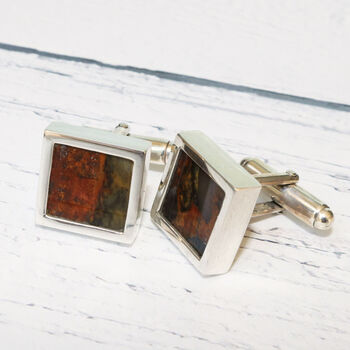 Fossilised Wood Sterling Silver Cufflinks
