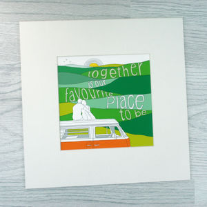 Couple And Classic Campervan Small Print - drawings & illustrations