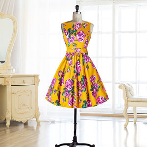 Purple Rose On Mustard Tea Dress - women's fashion