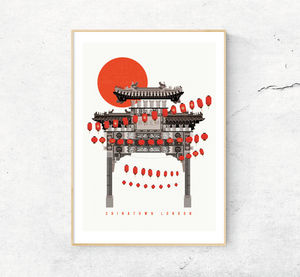 Chinatown London Art Print. Illustrated Poster
