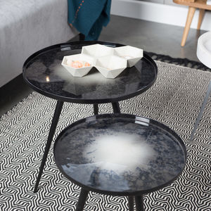 Monochrome Oil Drop Effect Side Tables - living room