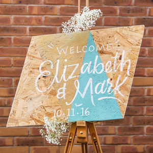 Geometric Welcome Wedding Sign - outdoor decorations