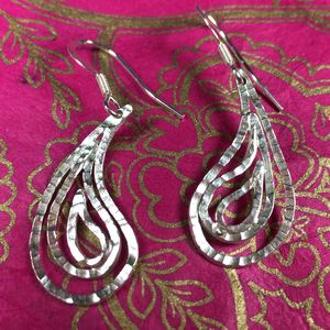 Large Hammered Paisley Earrings - earrings