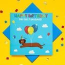 Happy Birthday Glitter Dachshund Greeting Card