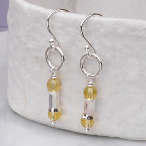 Sterling Silver November Birthstone Citrine Earrings - earrings