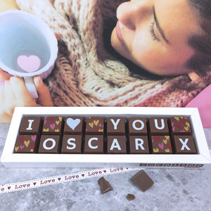 Chocolate Box With 'I Love You' And Name - gifts for him