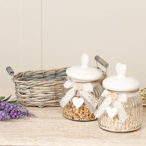 Country Style Storage Jars In Wicker Basket