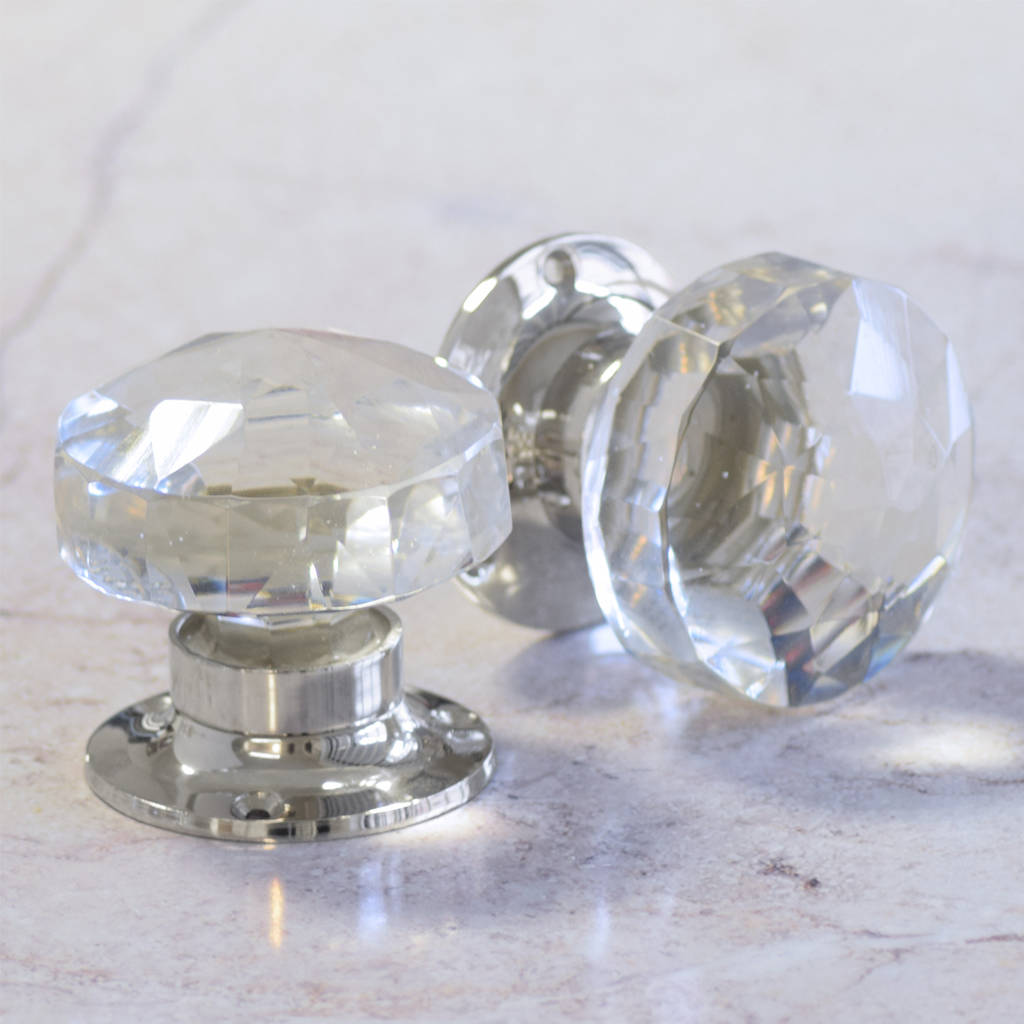Awesome Faceted Glass Internal Turning Mortice Door Knobs