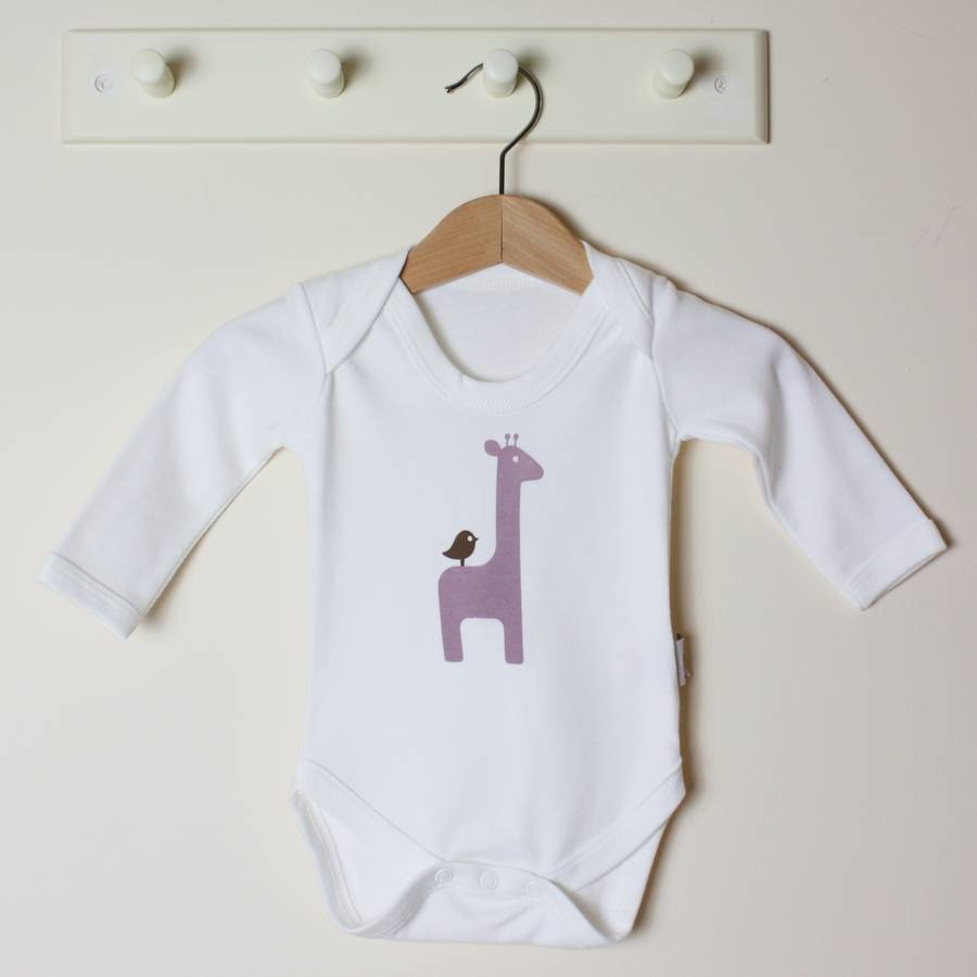 Organic Giraffe Long Sleeve Bodysuit