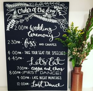 Personalised Order Of The Day Wedding Chalkboard - rustic wedding