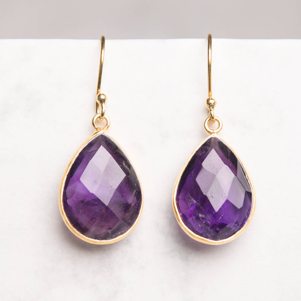 Purple Amethyst Gold Drop Earring