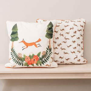 Woodland Fox And Rabbits Velvet Cushion