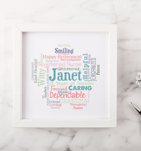 Personalised Retirement Word Art Gift