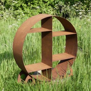 Circular Metal Outdoor Log Store - log baskets