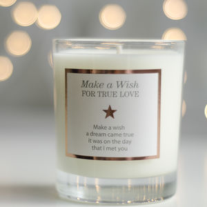 'Make A Wish For True Love' Valentines Candle