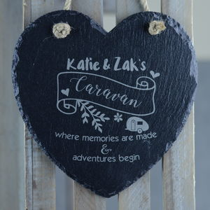 Caravan Personalised Heart Slate Decoration