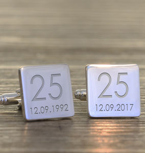 Personalised Wedding Anniversay Cufflinks - men's accessories