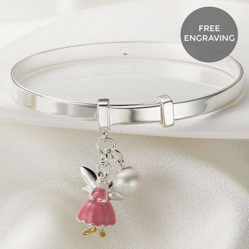 Personalised Pink Fairy Wish Christening Bangle