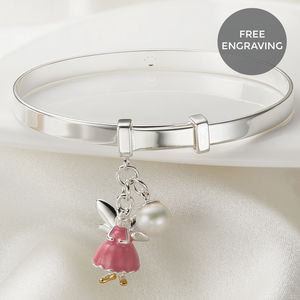 Personalised Pink Fairy Wish Christening Bangle - christening jewellery
