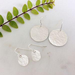 Silver Hammered Disc Earrings - wedding earrings