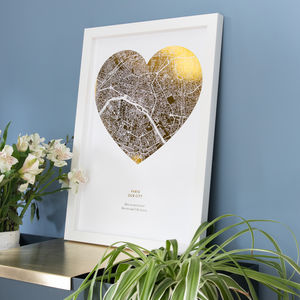 Custom Metallic Heart Shaped Map Print