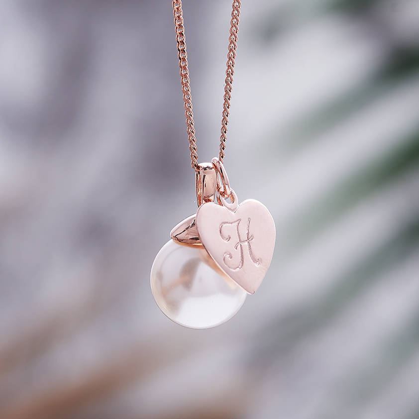 Rose gold pearl necklace with monogram charm by claudette worters rose gold pearl necklace with monogram charm of white swarovski pearl aloadofball Gallery
