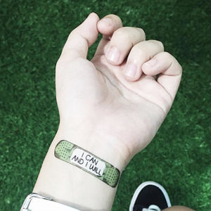 Motivational Self Care Bandage Temporary Tattoos Rider