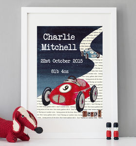 Personalised Racing Car Art Print - gifts for babies