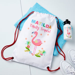 Girls Personalised Flamingo Pe Bag And Water Bottle
