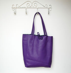 Colourful Soft Italian Leather Casual Tote Shopper - women's accessories sale