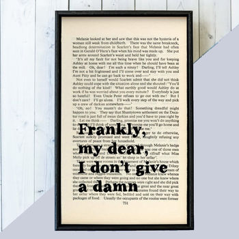 Gone With The Wind 'Frankly, My Dear' Quote Book Page Print