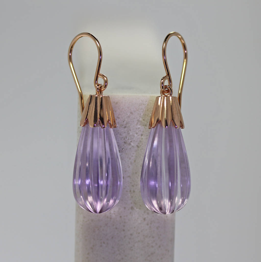 Rose Gold Amethyst Drop Earrings