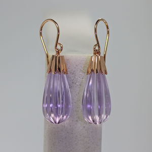 Rose Gold Amethyst Drop Earrings - earrings