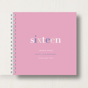 Personalised 16th Birthday Memory Book in soft pink