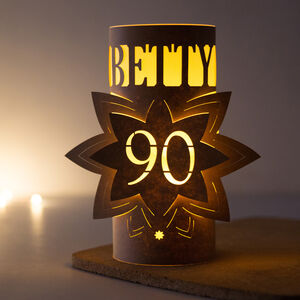 90th Birthday Personalised Star Lantern Centrepiece