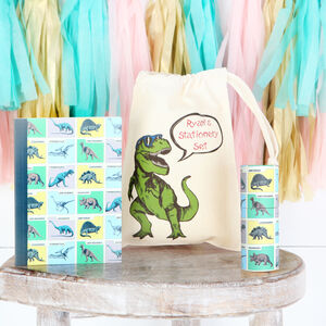 Dinosaur Stationery Set With Personalised Bag